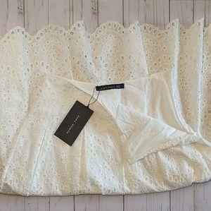 NWT ZARA Woman White Eyelet Scalloped Midi Skirt